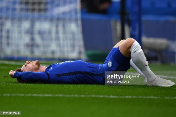 Chelsea's German striker Timo Werner reacts after missing a scoring opportunity during the English Premier League football match between Chelsea and...