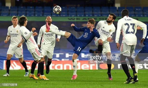 Chelsea's German striker Timo Werner shoots but fails to score during the UEFA Champions League second leg semi-final football match between Chelsea...