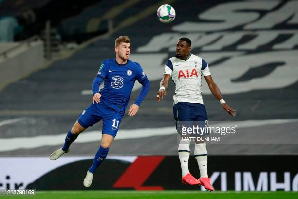 Chelsea's German striker Timo Werner vies with Tottenham Hotspur's Ivorian defender Serge Aurier during the English League Cup fourth round football...