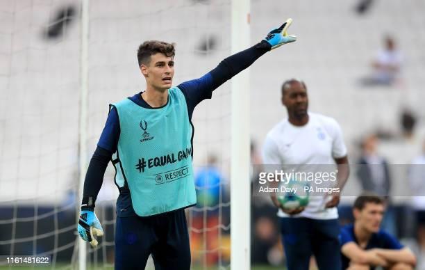 Chelsea's goalkeeper Kepa Arrizabalaga during the training session at Besiktas Park Istanbul