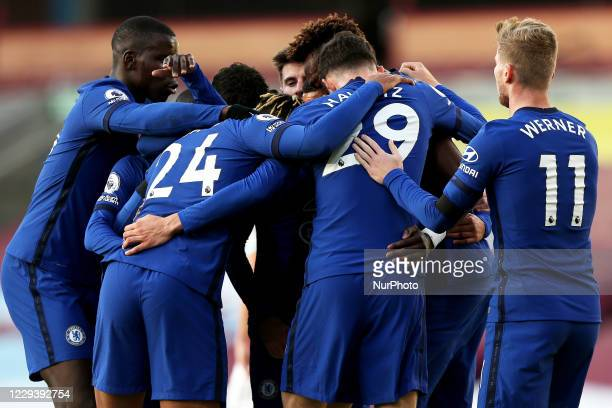 Chelseas Hakim Ziyech celebrates with his teammates after scoring his side's first goal of the game during the Premier League match between Burnley...
