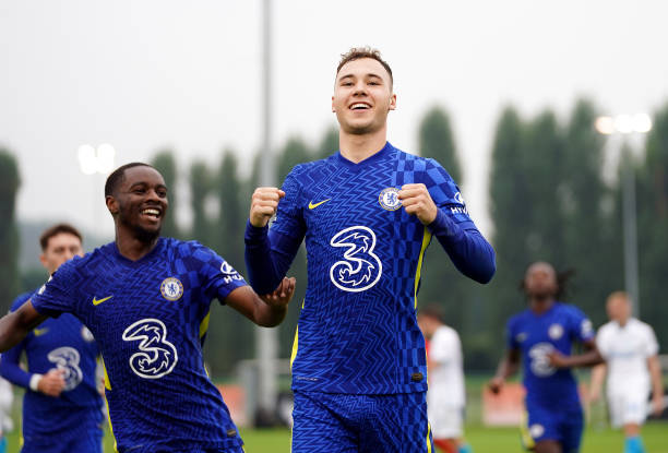 Chelsea's Harvey Vale celebrates scoring their side's second goal of the game from the penalty spot with team-mates during the UEFA Youth League,...