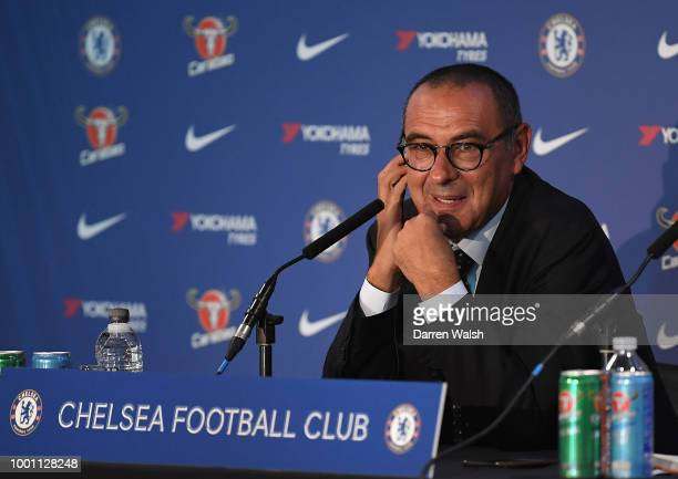 Chelsea's Head Coach Maurizio Sarri during a press conference at Stamford Bridge on July 18 2018 in London England