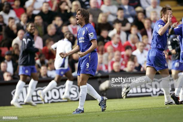 Chelsea's Hernan Crespo celebrates after scoring the first goal against Charlton Athletic