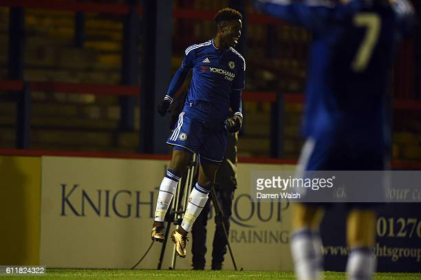 Chelsea's Ike Ugbo celebrates his goal during a 3rd Rd FA Youth Cup match between Chelsea U18 and Huddersfield Town U18 at The EBB Stadium on 16th...