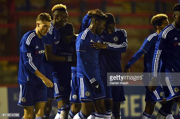 Chelsea's Ike Ugbo celebrates his goal with Fikayo Tomori and team mates during a 3rd Rd FA Youth Cup match between Chelsea U18 and Huddersfield Town...