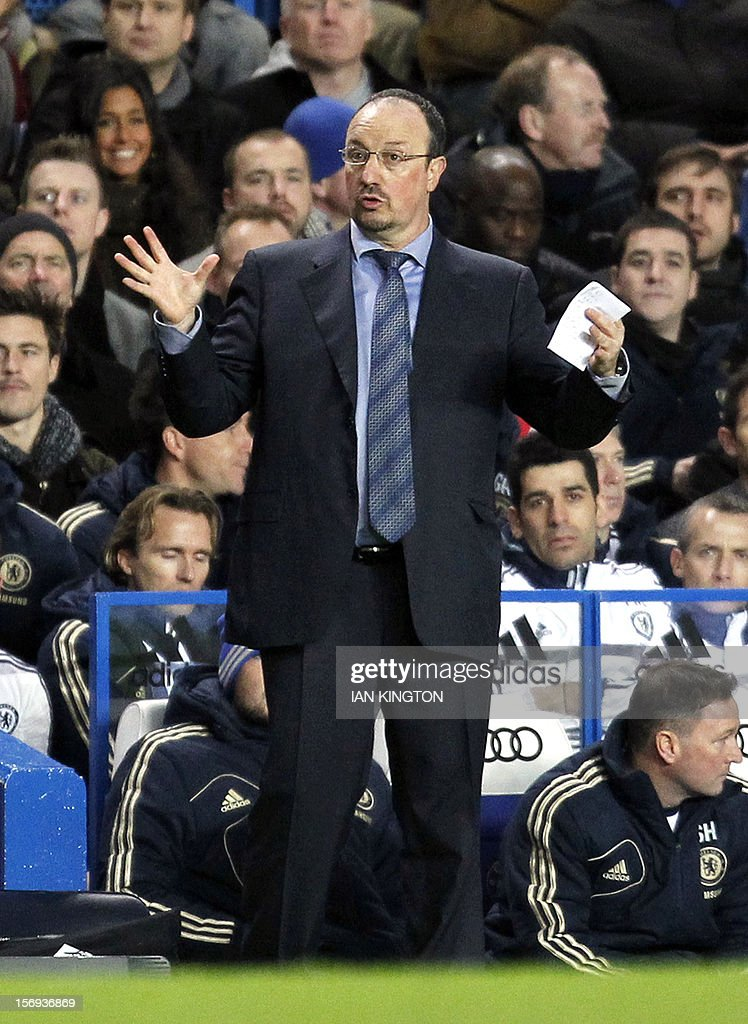 Chelsea's interim Spanish manager Rafael Benitez gestures during the English Premier League football match between Chelsea and Manchester City at Stamford Bridge in London on November 25, 2012. Chelsea fans have not universally welcomed Benitez's appointment as Roberto Di Matteo's interim successor, after the frequent spats that accompanied clashes between Benitez's Liverpool and Jose Mourinho's Chelsea. USE. No use with unauthorised audio, video, data, fixture lists, club/league logos or 'live' services. Online in-match use limited to 45 images, no video emulation. No use in betting, games or single club/league/player publications.