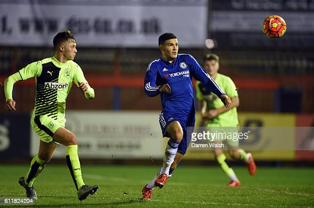 Chelsea's Isaac ChristieDavies and Huddersfield Town's Sam Warde during a 3rd Rd FA Youth Cup match between Chelsea U18 and Huddersfield Town U18 at...
