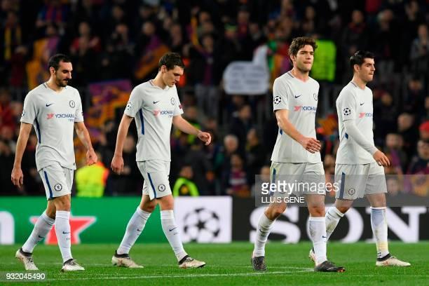 Chelsea's Italian defender Davide Zappacosta Chelsea's Danish defender Andreas Christensen Chelsea's Spanish defender Marcos Alonso and Chelsea's...