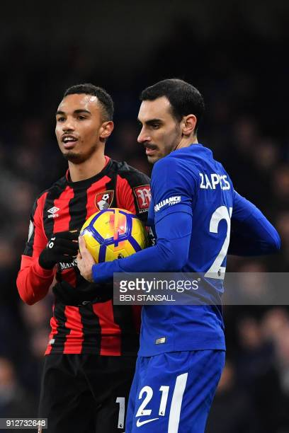 Chelsea's Italian defender Davide Zappacosta takes the ball from Bournemouth's English midfielder Junior Stanislas after winning a throwin during the...