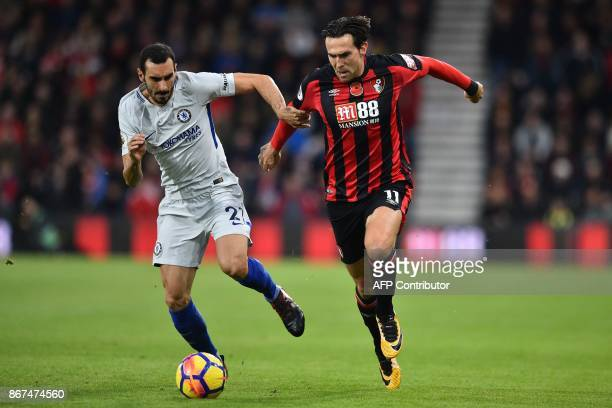 Chelsea's Italian defender Davide Zappacosta vies with Bournemouth's English midfielder Charlie Daniels during the English Premier League football...