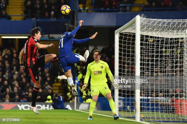 Chelsea's Italian defender Davide Zappacosta vies with Bournemouth's English midfielder Charlie Daniels in front of the goal as Bournemouth's English...