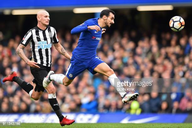 Chelsea's Italian defender Davide Zappacosta vies with Newcastle United's English midfielder Jonjo Shelvey during the English FA Cup fourth round...
