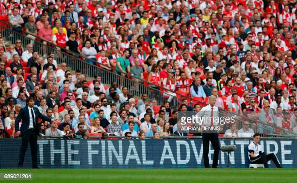 Chelsea's Italian head coach Antonio Conte and Arsenal's French manager Arsene Wenger watch from the touchline during the English FA Cup final...