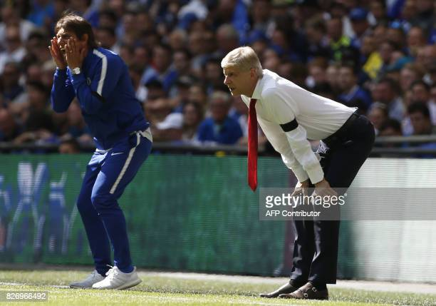 Chelsea's Italian head coach Antonio Conte and Arsenal's French manager Arsene Wenger gesture during the English FA Community Shield football match...