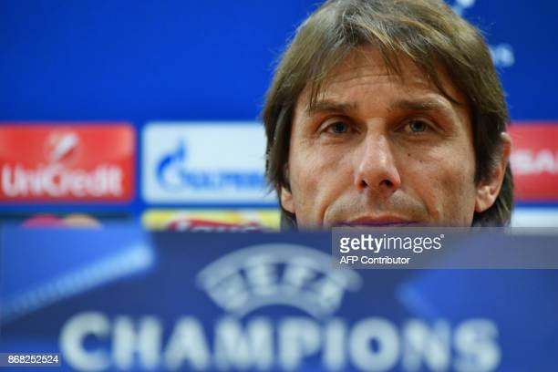 Chelsea's Italian head coach Antonio Conte attends a press conference on the eve of the UEFA Champions League football match AS Roma vs Chelsea on...