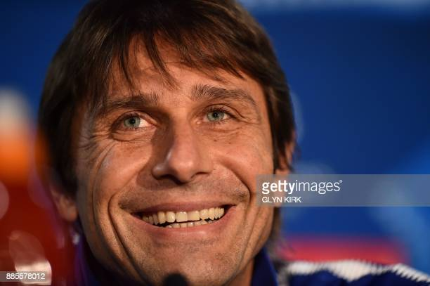 Chelsea's Italian head coach Antonio Conte attends a press conference at Stamford Bridge in London on December 4 on the eve of their UEFA Champions...