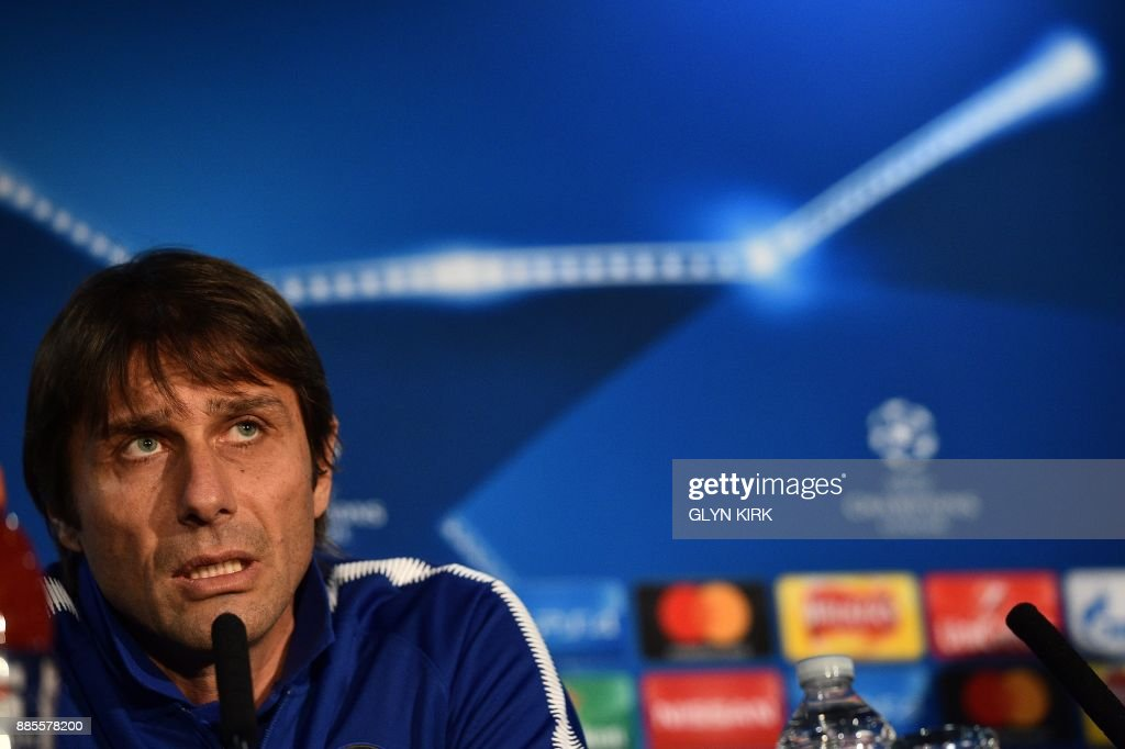 Chelsea's Italian head coach Antonio Conte attends a press conference at Stamford Bridge in London on December 4, 2017, on the eve of their UEFA Champions League Group C football match against Atletico Madrid. /