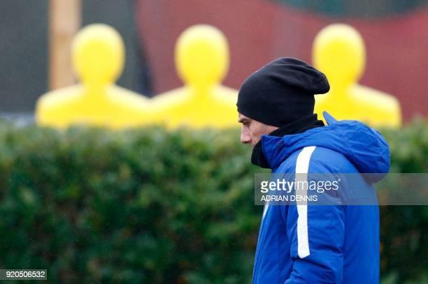 Chelsea's Italian head coach Antonio Conte attends a team training session at Chelsea's Cobham training facility in Stoke D'Abernon southwest of...