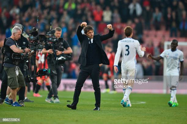 Chelsea's Italian head coach Antonio Conte celebrates at the end of the English Premier League football match between Bournemouth and Chelsea at the...