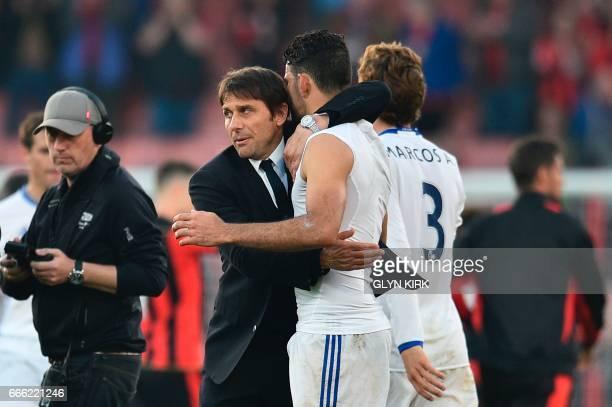 Chelsea's Italian head coach Antonio Conte embraces Chelsea's Brazilianborn Spanish striker Diego Costa at the end of the English Premier League...