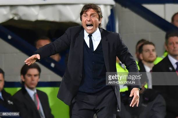 Chelsea's Italian head coach Antonio Conte gestures during the English Premier League match between West Bromwich Albion and Chelsea at The Hawthorns...