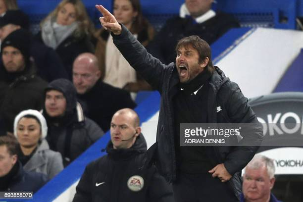 Chelsea's Italian head coach Antonio Conte gestures during the English Premier League football match between Chelsea and Southampton at Stamford...
