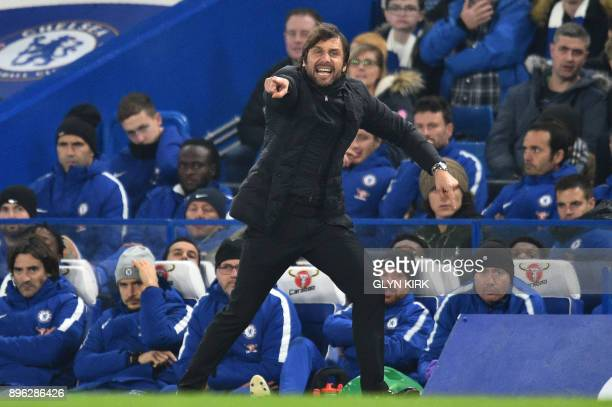 Chelsea's Italian head coach Antonio Conte gestures during the English League Cup quarterfinal football match between Chelsea and Bournemouth at...