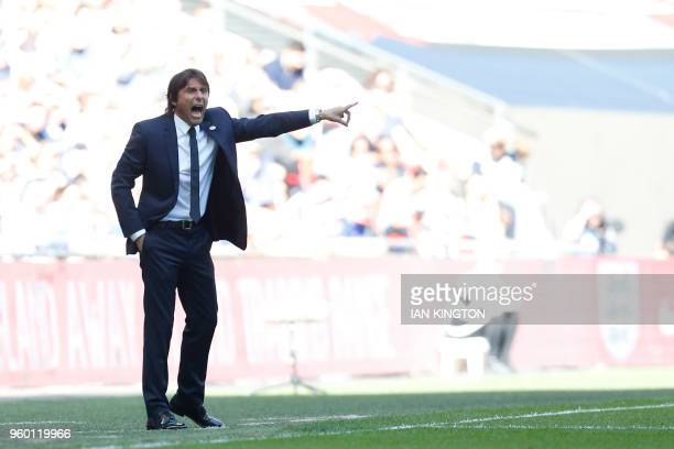 Chelsea's Italian head coach Antonio Conte gestures during the English FA Cup final football match between Chelsea and Manchester United at Wembley...