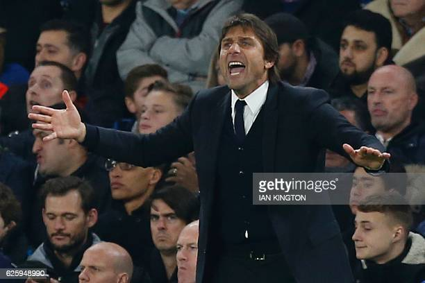 Chelsea's Italian head coach Antonio Conte gestures from the touchline during the English Premier League football match between Chelsea and Tottenham...