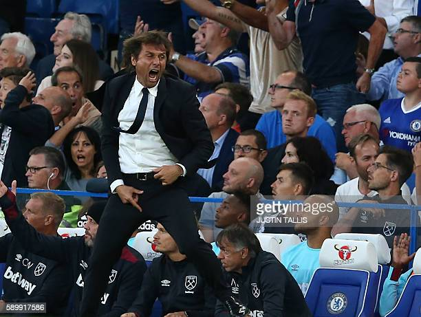 Chelsea's Italian head coach Antonio Conte gestures on the touchline during the English Premier League football match between Chelsea and West Ham...