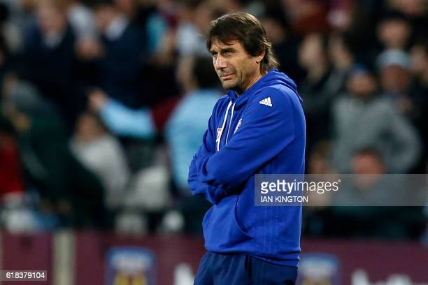Chelsea's Italian head coach Antonio Conte gestures on the touchline during the EFL Cup fourth round match between West Ham United and Chelsea at The...