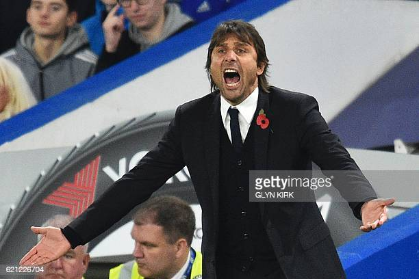 Chelsea's Italian head coach Antonio Conte gestures on the touchline during the English Premier League football match between Chelsea and Everton at...