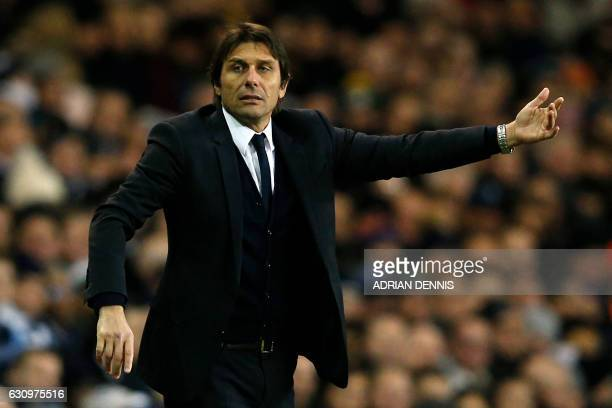 Chelsea's Italian head coach Antonio Conte gestures on the touchline during the English Premier League football match between Tottenham Hotspur and...