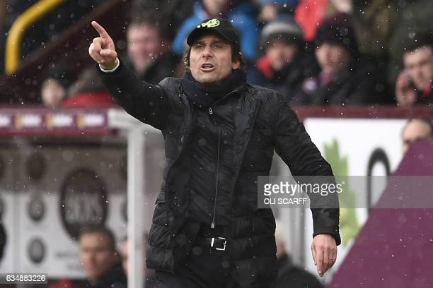 Chelsea's Italian head coach Antonio Conte gestures on the touchline during the English Premier League football match between Burnley and Chelsea at...