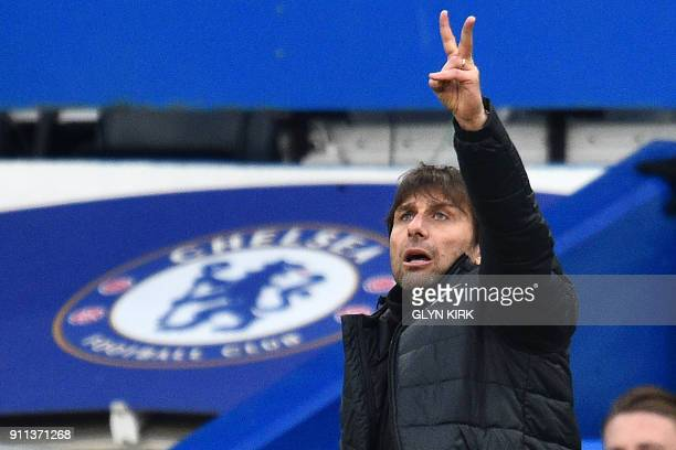 Chelsea's Italian head coach Antonio Conte gestures on the touchline during the English FA Cup fourth round football match between Chelsea and...