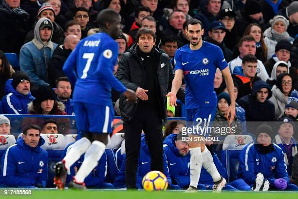 Chelsea's Italian head coach Antonio Conte gestures on the touchline as Chelsea's Italian defender Davide Zappacosta is on the ball during the...