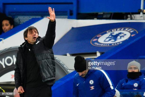 Chelsea's Italian head coach Antonio Conte gestures on the touchline during the English Premier League football match between Chelsea and West...