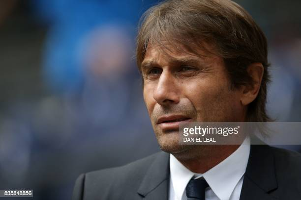 Chelsea's Italian head coach Antonio Conte is seen before kick off of the English Premier League football match between Tottenham Hotspur and Chelsea...