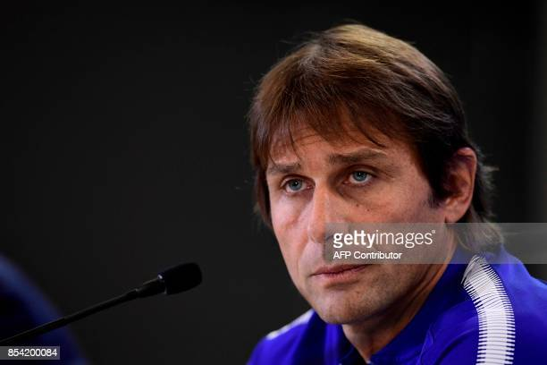 Chelsea's Italian head coach Antonio Conte looks on during a press conference at the Wanda Metropolitano stadium in Madrid on September 26 2017 on...