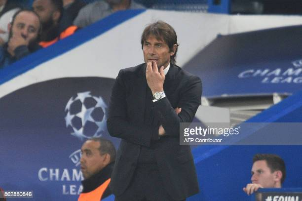 Chelsea's Italian head coach Antonio Conte looks on during a UEFA Champions league group stage football match between Chelsea and Roma at Stamford...