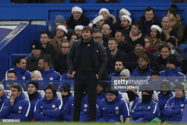 Chelsea's Italian head coach Antonio Conte looks on during the English Premier League football match between Chelsea and Southampton at Stamford...