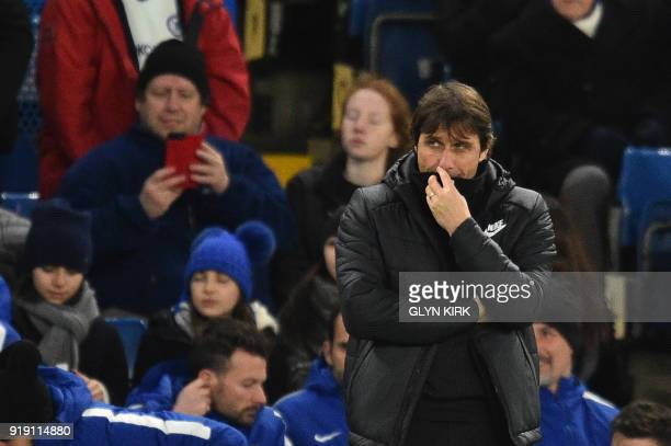 Chelsea's Italian head coach Antonio Conte looks on during the English FA Cup fifth round football match between Chelsea and Hull City at Stamford...