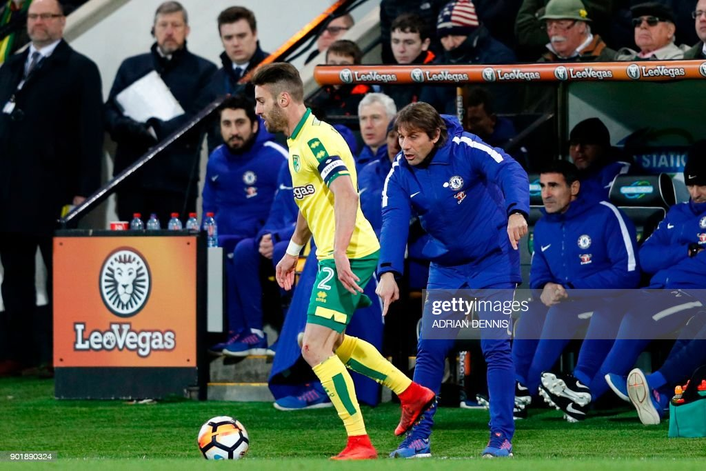 Chelsea's Italian head coach Antonio Conte (R) points down at the pitch at the byline during the English FA Cup third round football match between Norwich City and Chelsea at Carrow Road in Norwich, north east England on January 6, 2018. / AFP PHOTO / Adrian DENNIS / RESTRICTED TO EDITORIAL USE. No use with unauthorized audio, video, data, fixture lists, club/league logos or 'live' services. Online in-match use limited to 75 images, no video emulation. No use in betting, games or single club/league/player publications. /