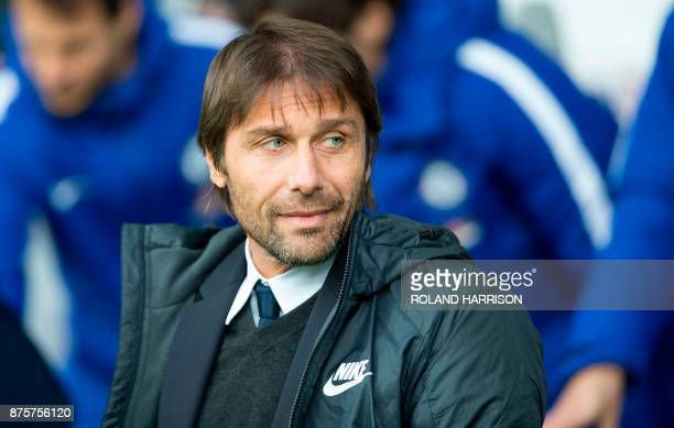 Chelsea's Italian head coach Antonio Conte reacts ahead of the English Premier League football match between West Bromwich Albion and Chelsea at The...