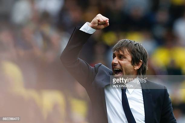 Chelsea's Italian head coach Antonio Conte reacts at the final whistle on the touchline during the English Premier League football match between...
