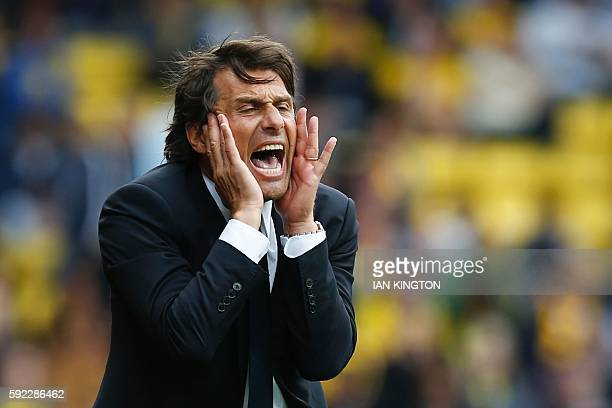 Chelsea's Italian head coach Antonio Conte reacts on the touchline during the English Premier League football match between Watford and Chelsea at...