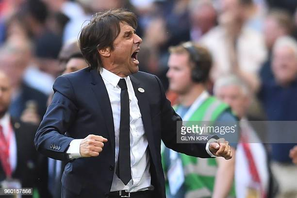 Chelsea's Italian head coach Antonio Conte reacts to their victory on the final whistle in the English FA Cup final football match between Chelsea...