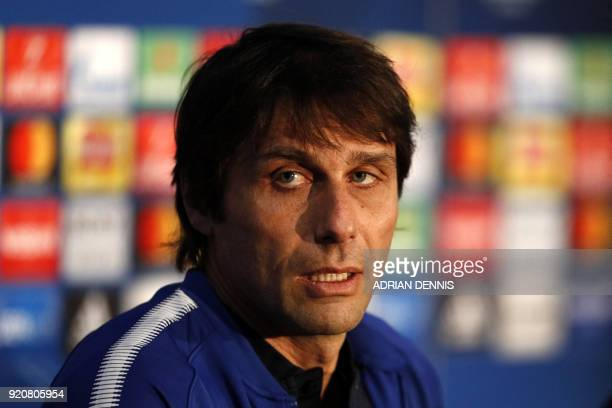 Chelsea's Italian head coach Antonio Conte speaks during a press conference at Stamford Bridge stadium in London on February 19 on the eve of their...
