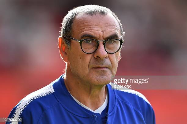 Chelsea's Italian head coach Maurizio Sarri watches his players warm up ahead the English Premier League football match between Southampton and...